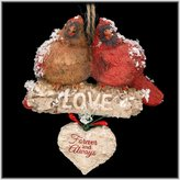 "Kurt Adler 4.5"" Resin Cardinals ON Birch Branch Orn: ""love Forever And Always."""