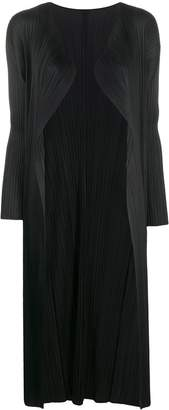 Pleats Please Issey Miyake Pleated Long-Line Cardigan