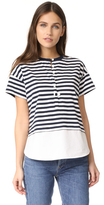 Derek Lam 10 Crosby Henley Tee with Shirting