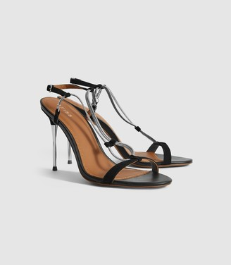 Reiss Kendall - Chain Detail Heeled Sandals in Black