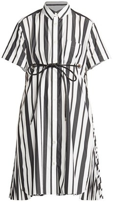 Sacai Striped Poplin Short-Sleeve Shirtdress