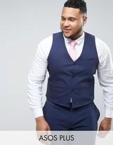 Asos Plus Wedding Skinny Suit Waistcoat In Navy