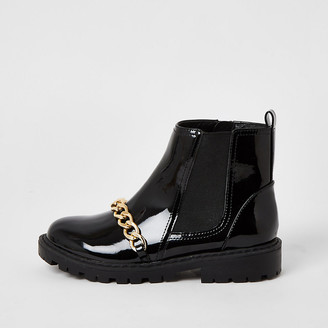 River Island Girls black patent chain strap ankle boots
