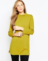 Asos Structured Knit Tunic with Button Up High Neck