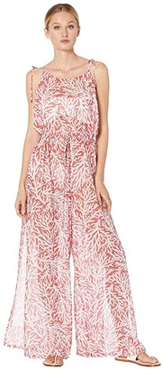 MICHAEL Michael Kors Printed Jumpsuit Cover-Up (Sea Coral) Women's Swimsuits One Piece