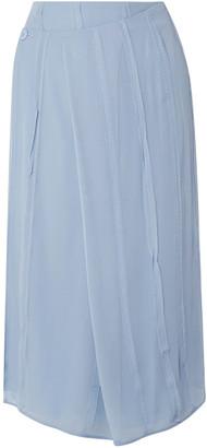 Carven Pleated Silk-chiffon Paneled Wrap Skirt