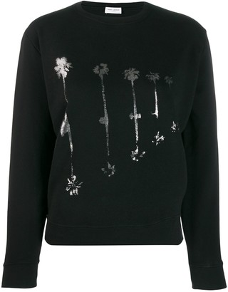 Saint Laurent Palm Tree Print Sweatshirt