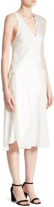 Victoria Beckham Knotted Striped Silk Midi Dress