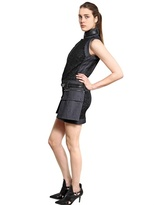 Diesel Black Gold Lace On Denim With Leather Biker Dress