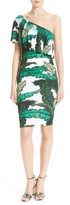 Tracy Reese Women's Print Jersey One-Shoulder Flounce Dress