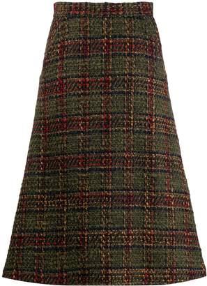 Societe Anonyme checked pattern midi skirt
