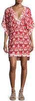 Vix Michelle Kali Ikat-Print Tunic Coverup, Red/White