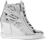 Giuseppe Zanotti Metallic glossed-leather wedge sneakers