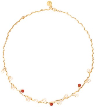 EJING ZHANG 'Klint' pearl station link chain necklace