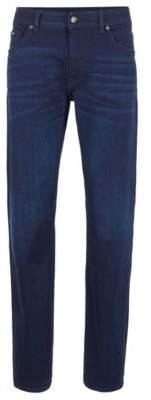 BOSS Regular-fit jeans in Italian dark-blue stretch denim