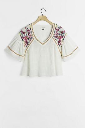 Pilcro And The Letterpress Pilcro Cera Embroidered-Peasant Blouse