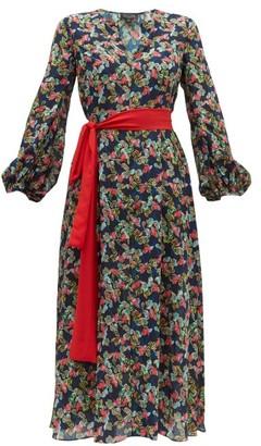 Saloni Lucia Floral Print Silk-crepe De Chine Dress - Womens - Navy Multi