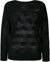 Issey Miyake ribbed polka dot sweater - women - Polyester - One Size