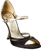 Roger Vivier Metallic Leather & Satin Sandal