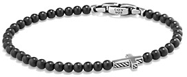 David Yurman Spiritual Beads Cross Bracelet with Black Onyx in Sterling Silver