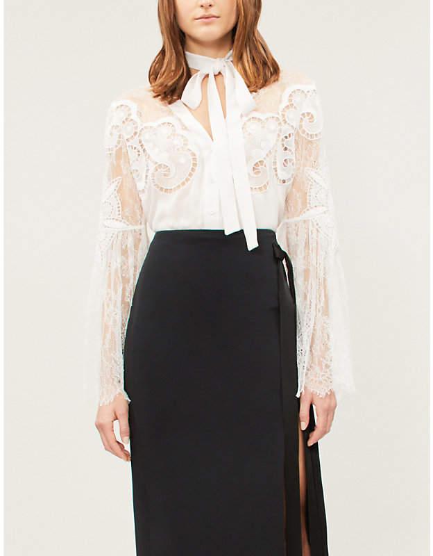 Elie Saab Lace-sleeve cotton-blend blouse