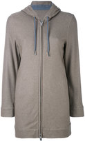 Eleventy drawstring zipped hoodie - women - Silk/Polyester/Acetate/Cashmere - 40