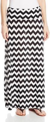 Star Vixen Women's Foldover Waist Printed Maxi Skirt