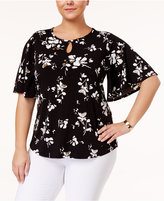 Charter Club Plus Size Floral-Print Kimono-Sleeve Top, Created for Macy's