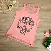 Hot Sale ! Ninasill Exclusive Women Lace Skull Print Lace Back Tank Top (XXL, Pink)