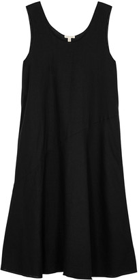 Eileen Fisher Black Linen Midi Dress