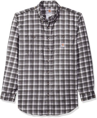 Carhartt Men's Big and Tall B&T Flame Resistant Classic Plaid Long Sleeve Woven Shirt