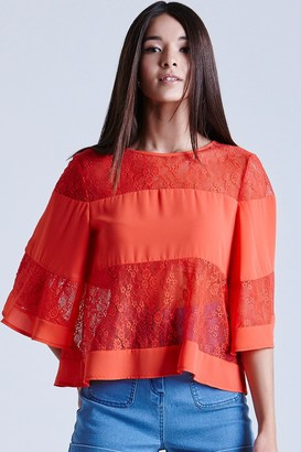 Girls On Film Coral Lace and Chiffon Band Top