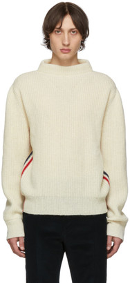 Thom Browne White Stripe Relaxed Fit Boat Neck Sweater