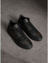 Burberry Check and Leather High-Top Trainers