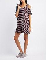 Charlotte Russe Striped Cold Shoulder Swing Dress