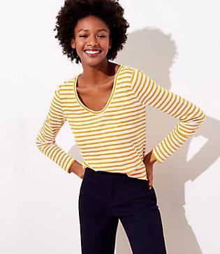 LOFT Striped Long Sleeve Shirttail Tee
