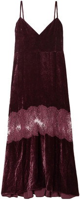 Stella McCartney Kelsey Lace-paneled Velvet Maxi Dress