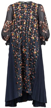 Biyan Aretha Beaded Chiffon Midi Dress - Womens - Navy Multi