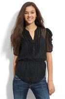 Susina® Sheer Ruffled Blouse (Juniors)