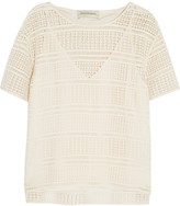 By Malene Birger Onestianna silk-trimmed broderie anglaise cotton top