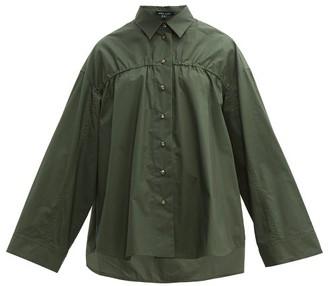 story. White Adam Elasticated Cotton-poplin Shirt - Womens - Khaki