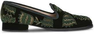 Miu Miu Velvet Beaded Square-Toe Slippers