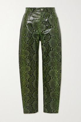 ATTICO Snake-effect Leather Tapered Pants - Green