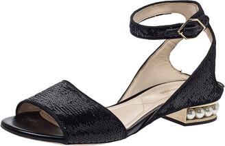 Nicholas Kirkwood Black Sequin Embellished Fabric Casati Pearl Ankle Strap Sandals Size 37.5