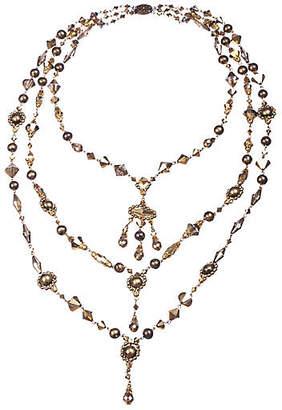 One Kings Lane Vintage Czech Crystal Glass Bead Tassel Necklace - Treasure Trove NYC - clear/multi
