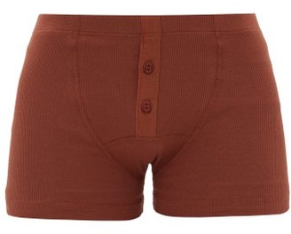 Hemen Biarritz - Albar Ribbed Organic-cotton Blend Boxer Briefs - Brown