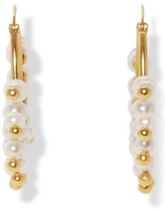 Sole Society Statement Imitation Pearl Hoop Earrings