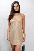 Rare Gold Metallic Textured Cami Dress