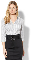 New York & Co. 7th Avenue - Madison Stretch Shirt - Grey Stripe - Petite