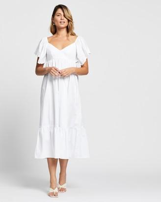 Atmos & Here Atmos&Here - Women's White Midi Dresses - Sorcha Midi Dress - Size 6 at The Iconic